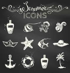 Set of chalk summer icons vector