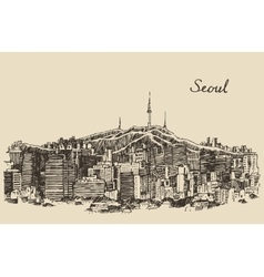 Seoul special city south korea vintage sketch vector