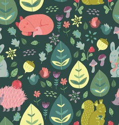 Forest friends cute seamless pattern vector