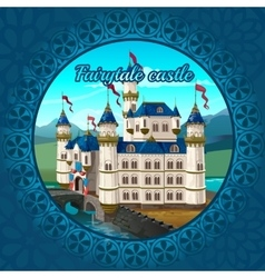 Fabulous medieval castle frame nature background vector