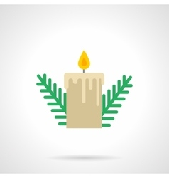 Pine branches with candle flat icon vector image
