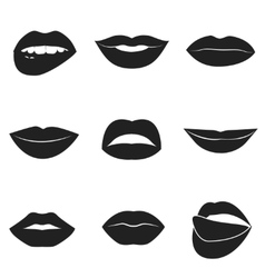 Set of glamour black lips beautiful female lips vector