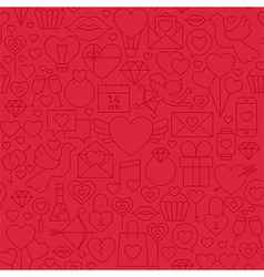 Thin valentine day line seamless red pattern vector