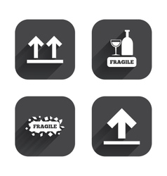 Fragile icons delicate package delivery vector