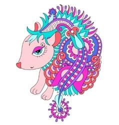 Bright nice hedgehog ethnic doodle vector