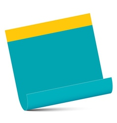 Empty blue paper with yellow edge isolated on vector