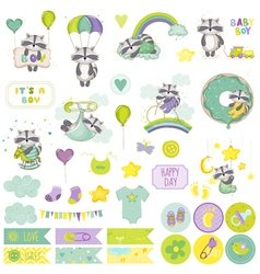Baby boy raccoon scrapbook set baby tags vector