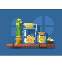 Savings and glass jar with coins vector