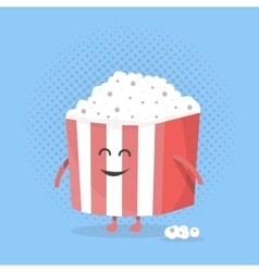 Big popcorn box face character with legs and vector