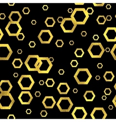Abstract seamless pattern with gold hexs vector