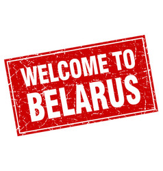 Belarus red square grunge welcome to stamp vector