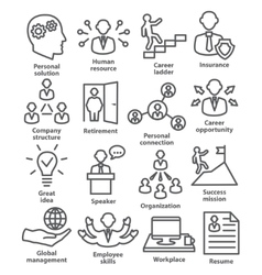 Business people management icons in line style vector image