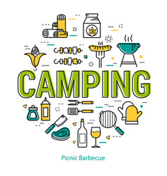 camping - round linear concept vector image vector image
