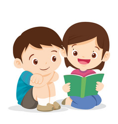 cute girl reading book with boy vector image