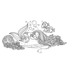 Cute little mermaid sleeps on a rock with corals vector