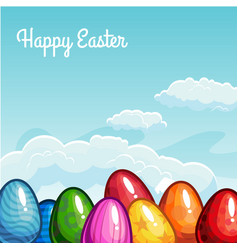 easter greeting with eggs vector image vector image