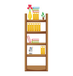 Education bookcase with folders document object vector
