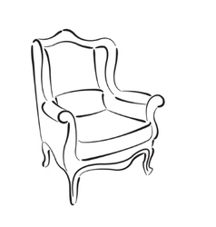 Elegant sketched armchair vector image
