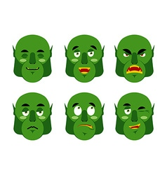 Emotions ogre Set emoji expressions avatar green vector image