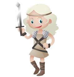 Female warrior with sharp sword vector