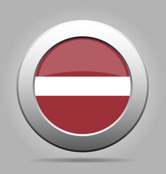 Flag of latvia shiny metal gray round button vector