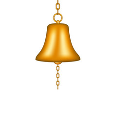 golden bell with a chain vector image vector image