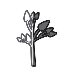 Grayscale thick silhouette of small tree with vector