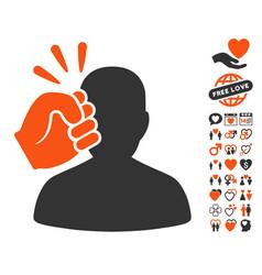 Head strike icon with lovely bonus vector