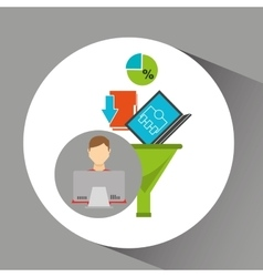 Inteligent man working laptop data analytics vector