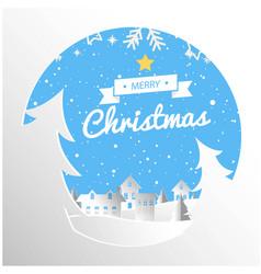 Merry christmas ribbon circle snow white backgroun vector