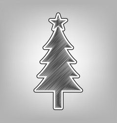 New year tree sign pencil sketch vector