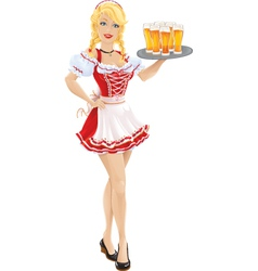 Oktoberfest girl with tray of beer vector