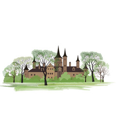 Old house in park spring landscape ancient castle vector