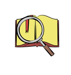 Open book with loupe icon cartoon vector