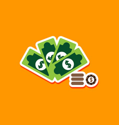 Paper sticker on stylish background money dice vector
