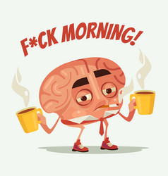 Sleepy tired office worker brain character drink vector