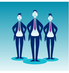 Three cheeky businessman in strict suits stand on vector