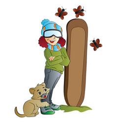 Woman snowboarder vector