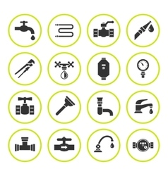 Set round icons of plumbing vector
