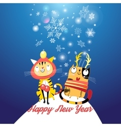 Funny cats in the new year vector