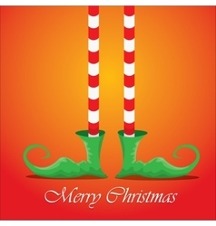 Merry christmas card with cartoon elfs legs vector