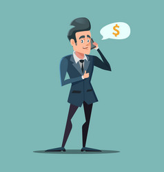 Businessman talking on the phone with thumb up vector