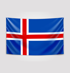 Hanging flag of iceland kingdom of iceland vector