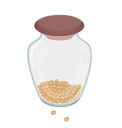 A lot of soy bean in glass bottle vector