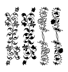 Swirl floral black set pattern vector