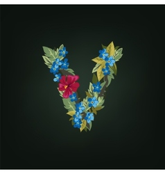 V letter flower alphabet colorful font vector