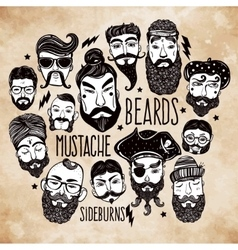 Mustache beard and hair style set vector