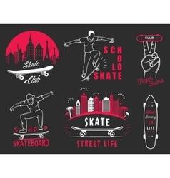 Set Retro Skateboarding Logo and Badge vector image