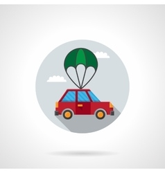 Car with parachute flat icon vector