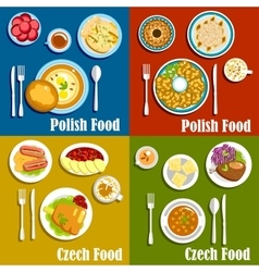 Polish and czech national cuisine dishes vector
